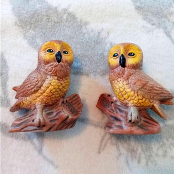 Vintage Pair of Owl Figures Figurines Ceramic 4 in.  MCM